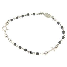 Bracciale rosario silver e sfere cilindriche ematite s1