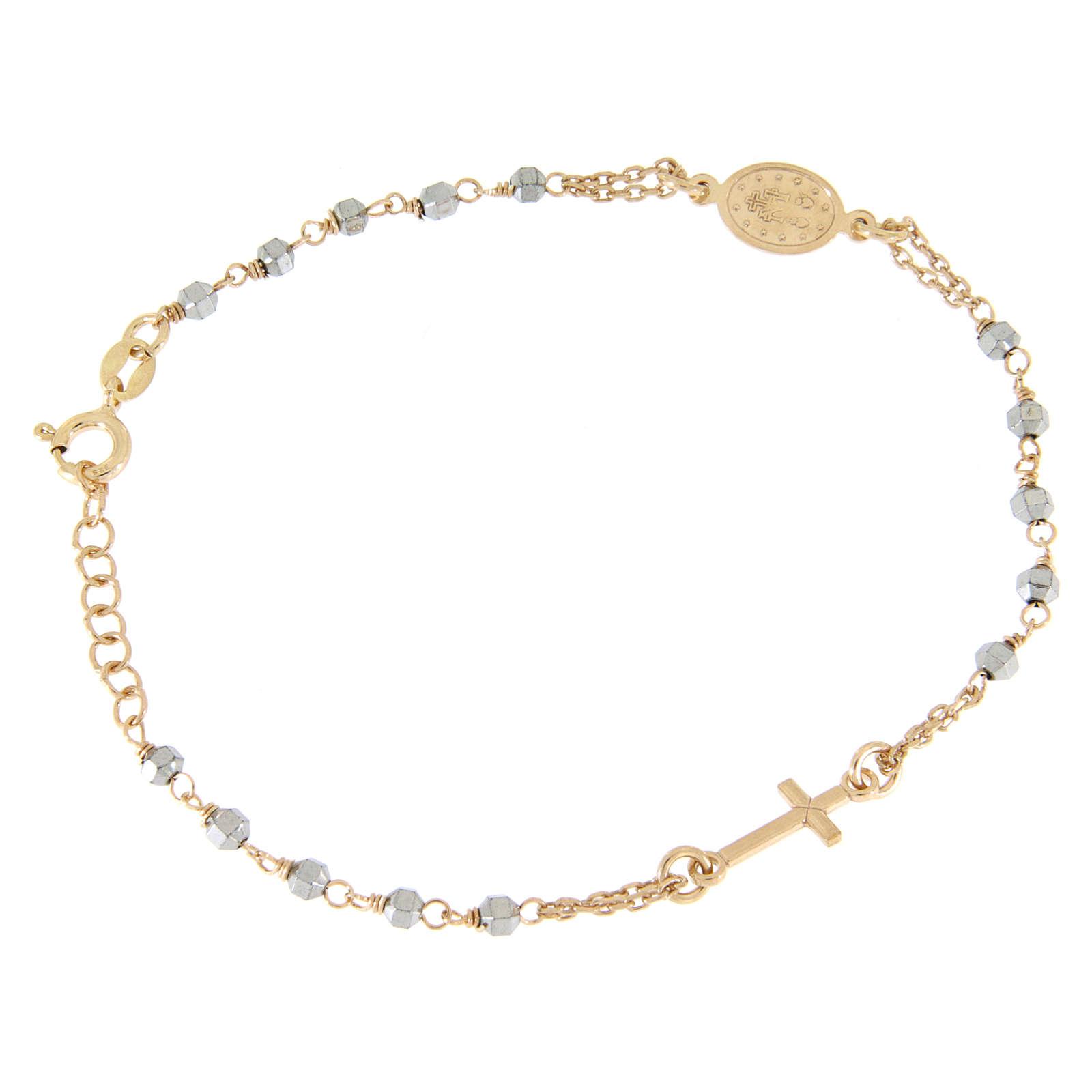 Bracciale rosario grani ematite con catenina, medaglietta e croce ramate 4