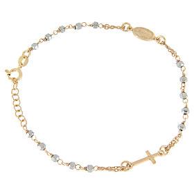 Bracciale rosario grani ematite con catenina, medaglietta e croce ramate s1