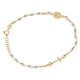 Bracciale rosario grani ematite con catenina, medaglietta e croce ramate s2