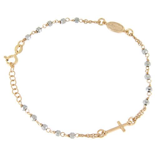 Bracciale rosario grani ematite con catenina, medaglietta e croce ramate 1