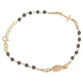 Rosary bracelet copper colour, with square hematite grains s1