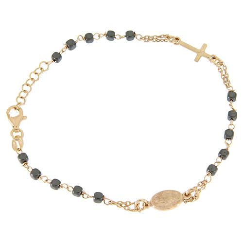 Rosary bracelet copper colour, with square hematite grains 1