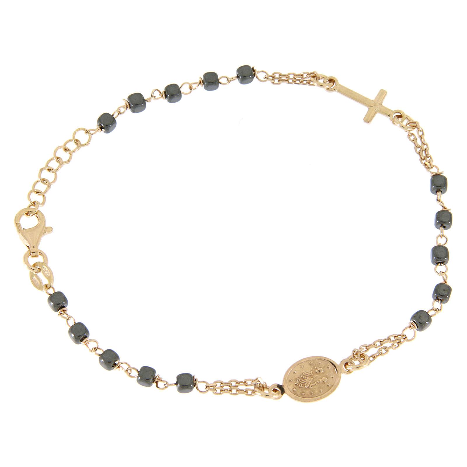 Bracciale rosario color ramato, grani quadrati ematite 4