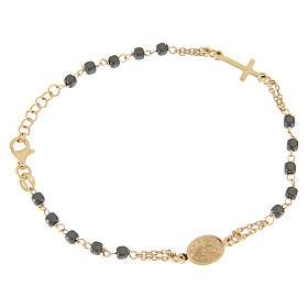 Bracciale rosario color ramato, grani quadrati ematite s2