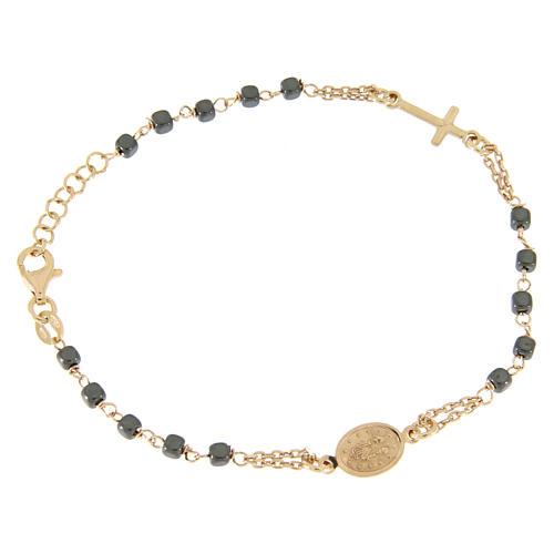 Bracciale rosario color ramato, grani quadrati ematite 2