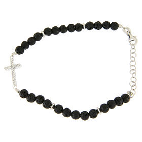 Silver bracelets: Bracelet in 925 sterling silver, with lava stone, cross and white zircons