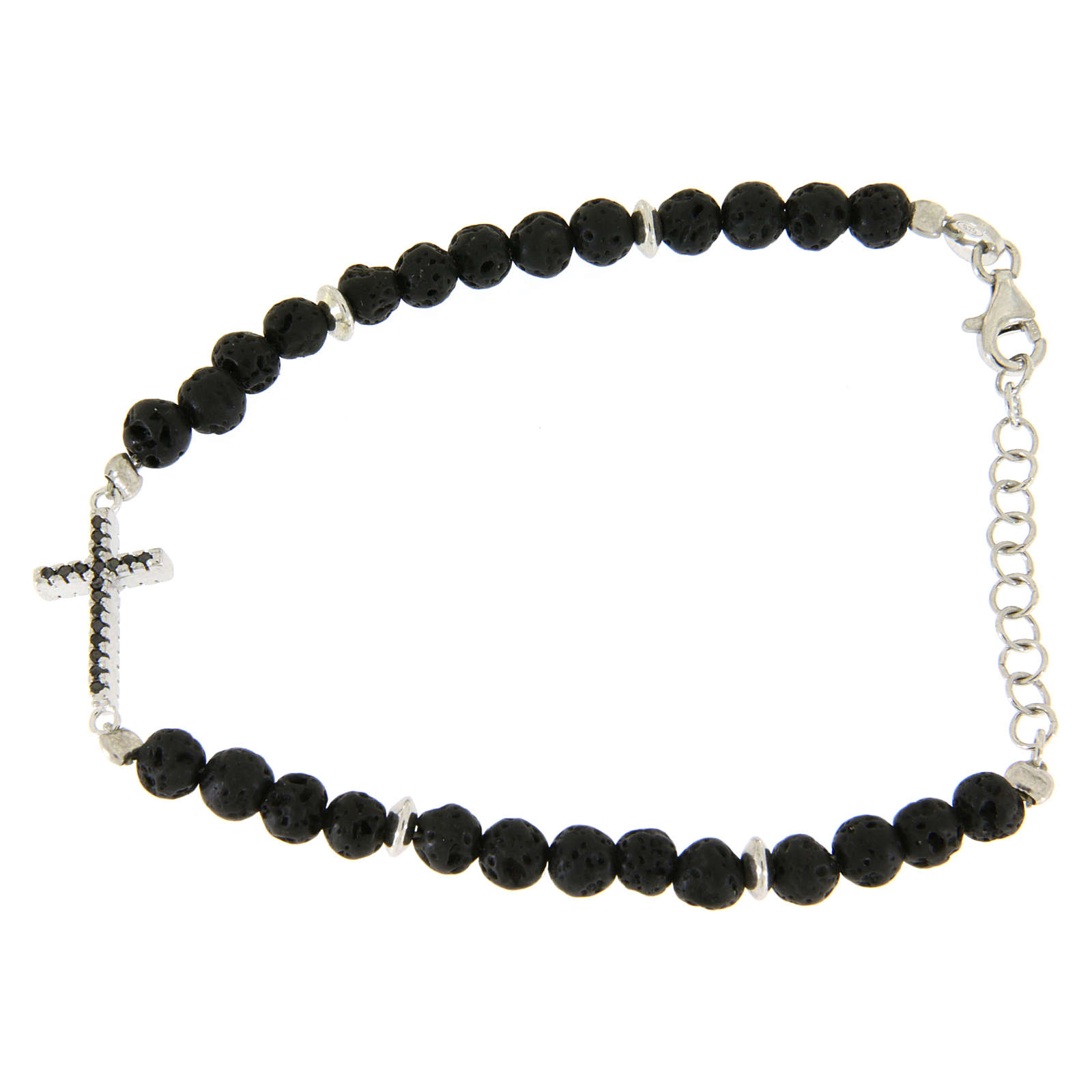 Bracelet with lava stone spheres and cross insert with zircons 4
