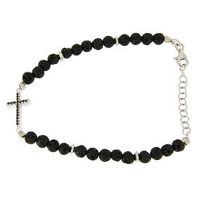 Bracelet with lava stone spheres and cross insert with zircons s2