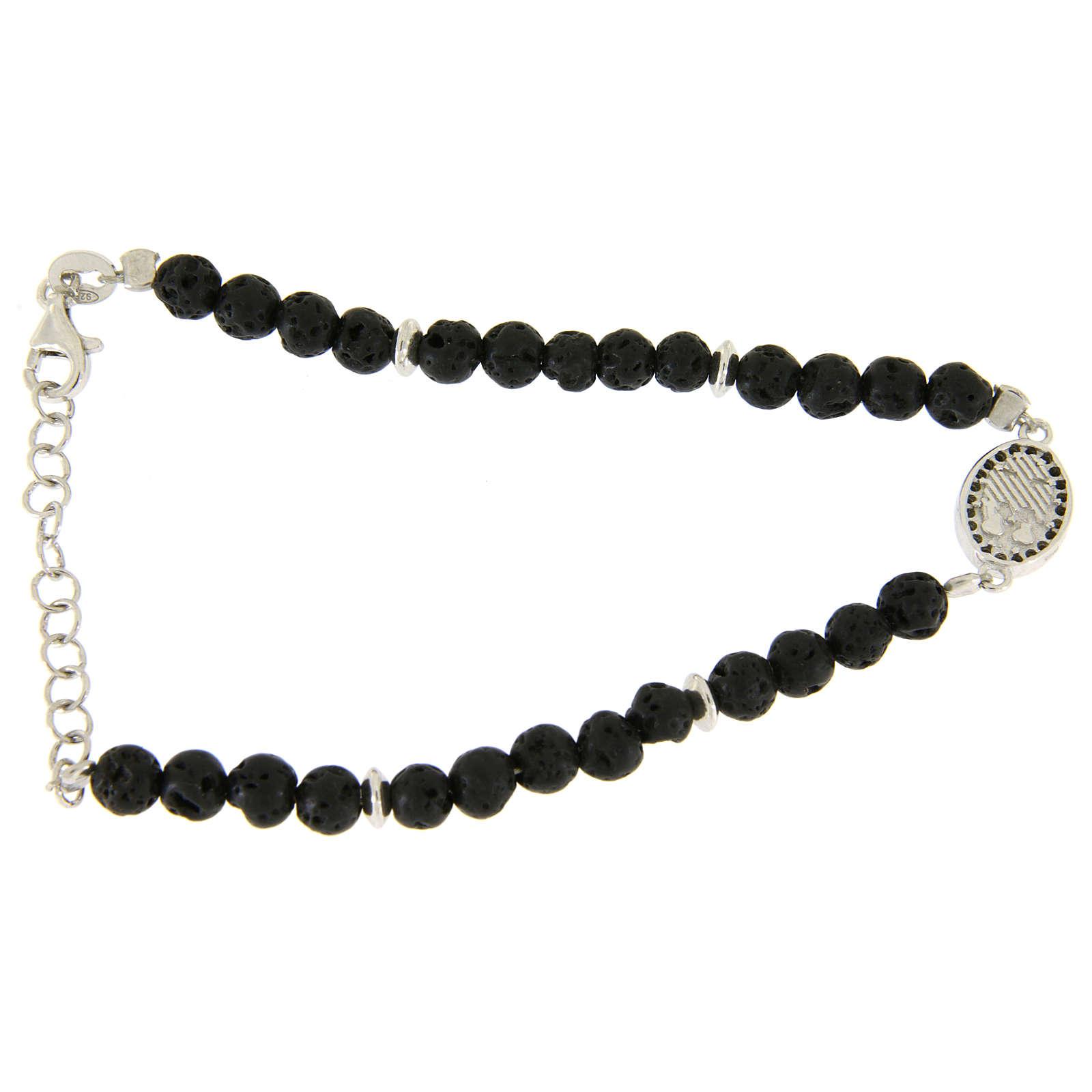 Bracelet pierre de lave et insert médaille religieuse Ste Rita zircons noirs 4