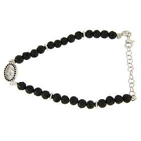 Bracelet pierre de lave et insert médaille religieuse Ste Rita zircons noirs s1