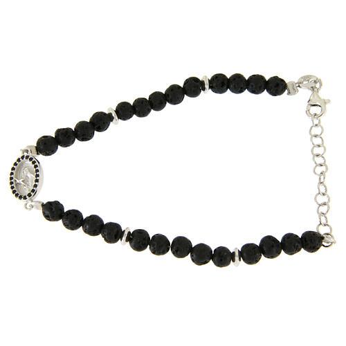 Bracelet pierre de lave et insert médaille religieuse Ste Rita zircons noirs 1