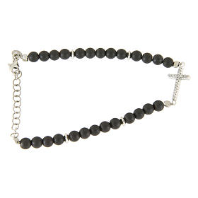 Silver bracelets: Bracelet in 925 sterling silver, hematite opaque balls and white zirconate cross