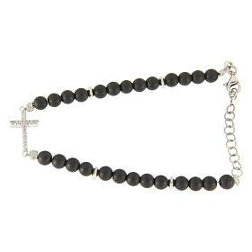 Bracelet in 925 sterling silver, hematite opaque balls and white zirconate cross s2