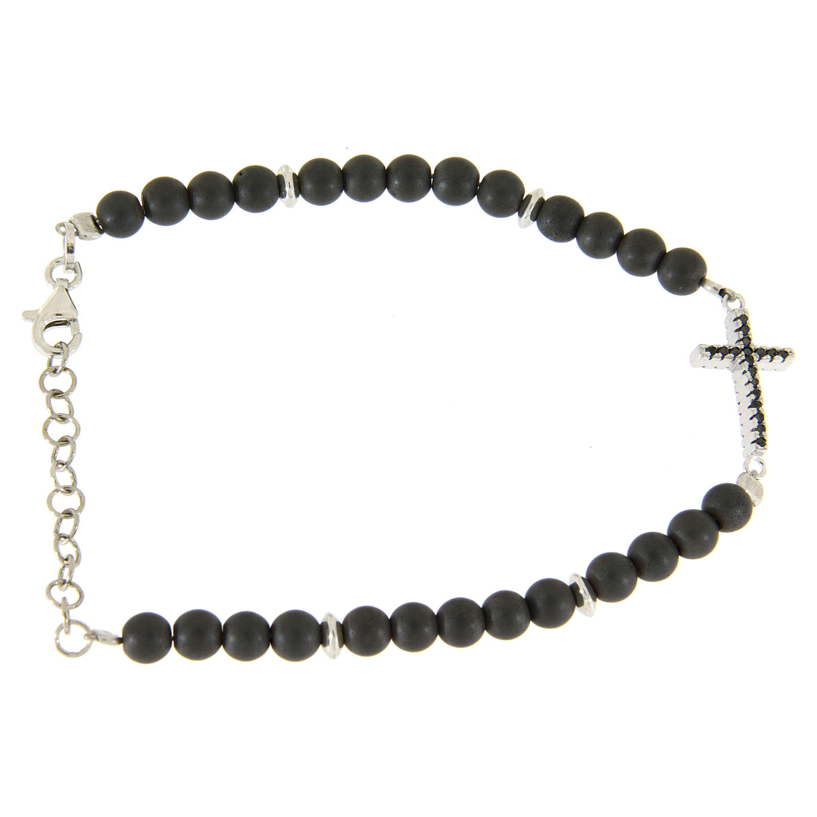 Silver bracelet with opaque hematite balls and a religious insert with a black zirconate cross 4