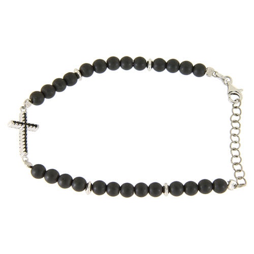 Silver bracelet with opaque hematite balls and a religious insert with a black zirconate cross 1