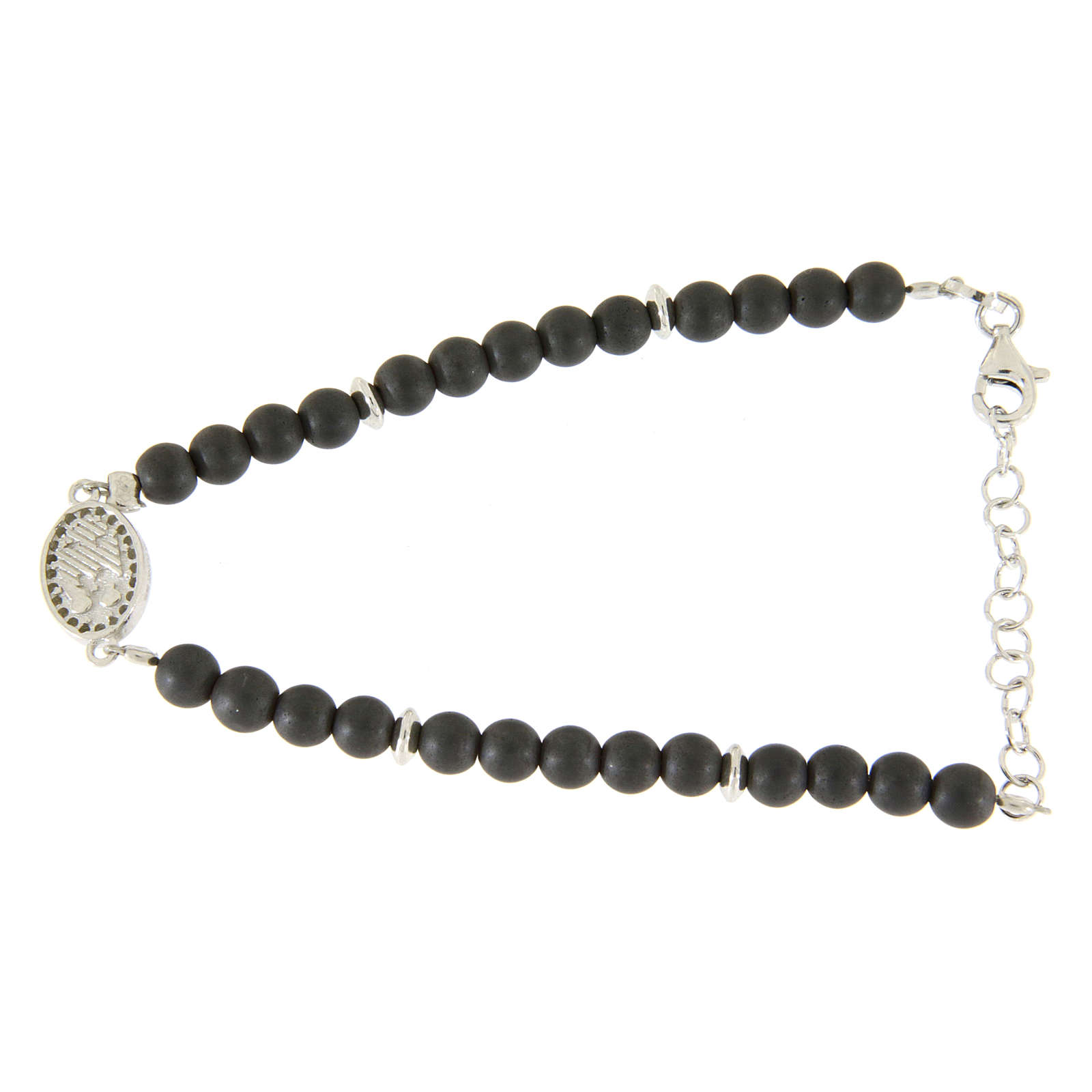 Bracelet with opaque hematite balls, details and Saint Rita medalet with white zircons 4