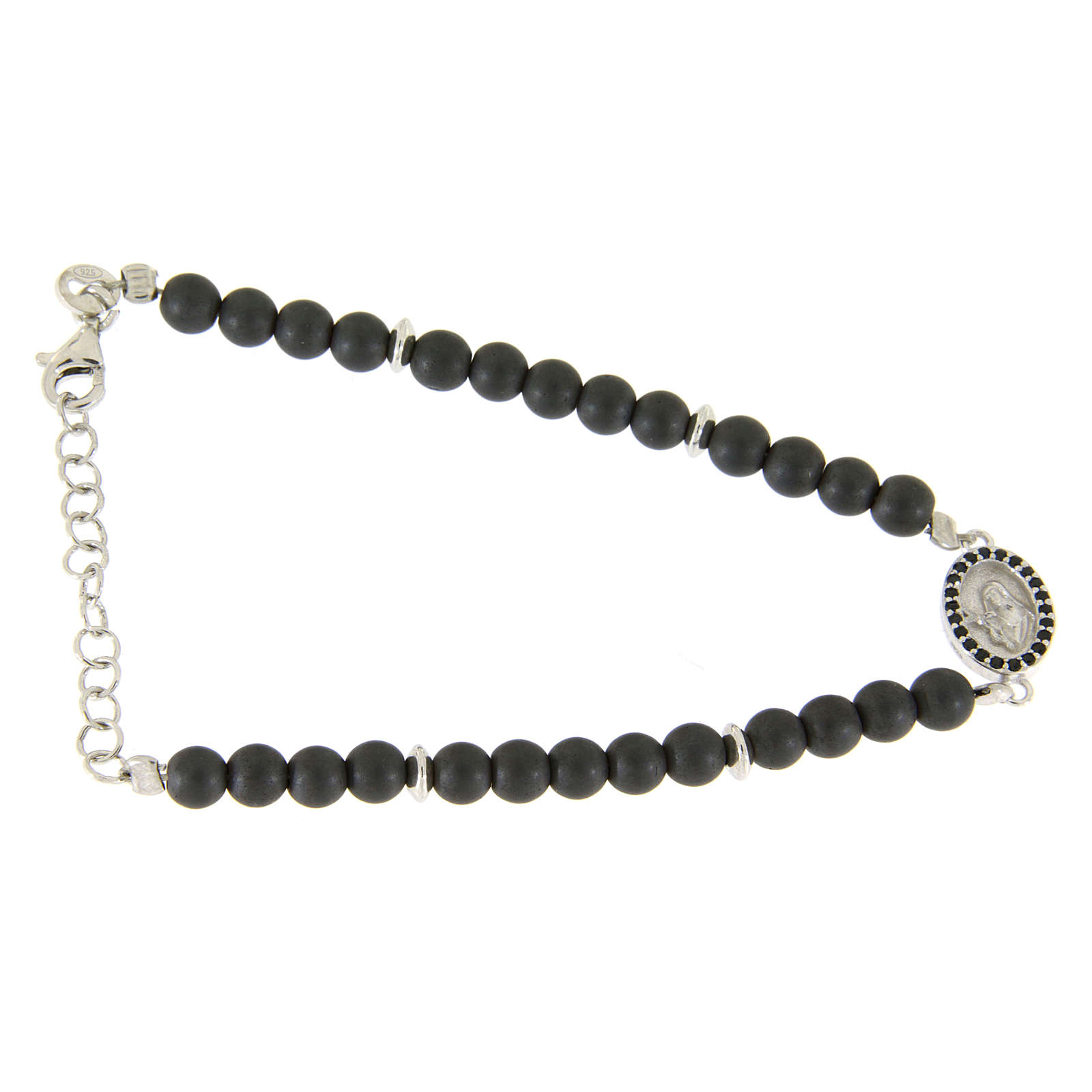 Bracelet in 925 sterling silver with 4,5 hematite balls and a black zircon medalet 4