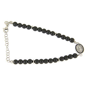 Silver bracelets: Bracelet in 925 sterling silver with 4,5 hematite balls and a black zircon medalet