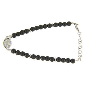 Bracelet in 925 sterling silver with 4,5 hematite balls and a black zircon medalet s2