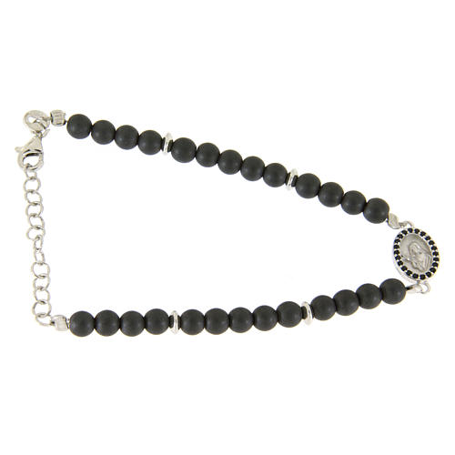 Bracelet in 925 sterling silver with 4,5 hematite balls and a black zircon medalet 1