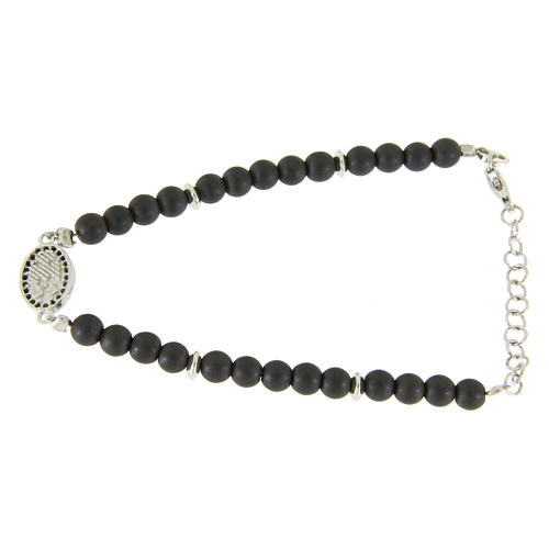 Bracelet in 925 sterling silver with 4,5 hematite balls and a black zircon medalet 2