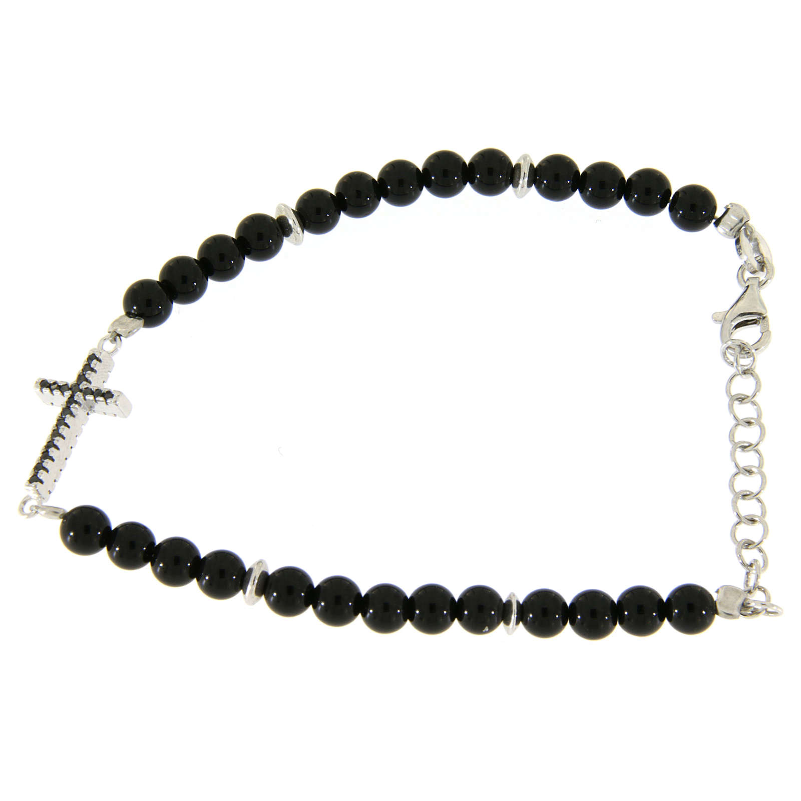Bracelet with details, cross with black zircons, black shiny onyx balls sized 4,2 mm 4