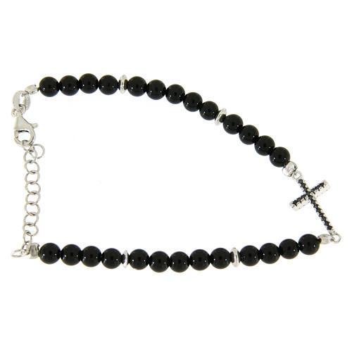 Bracelet with details, cross with black zircons, black shiny onyx balls sized 4,2 mm 2