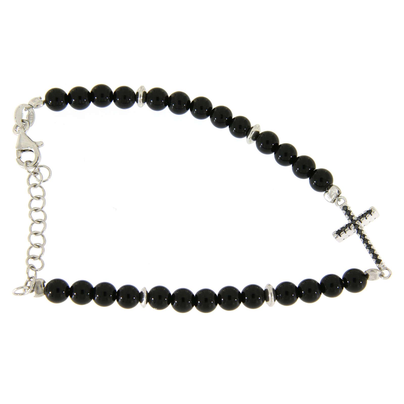 Bracelet détails et croix argent zircons noirs perles onyx noir brillant 4,2 mm 4
