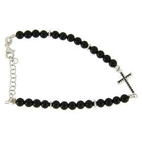 Bracelet détails et croix argent zircons noirs perles onyx noir brillant 4,2 mm s2