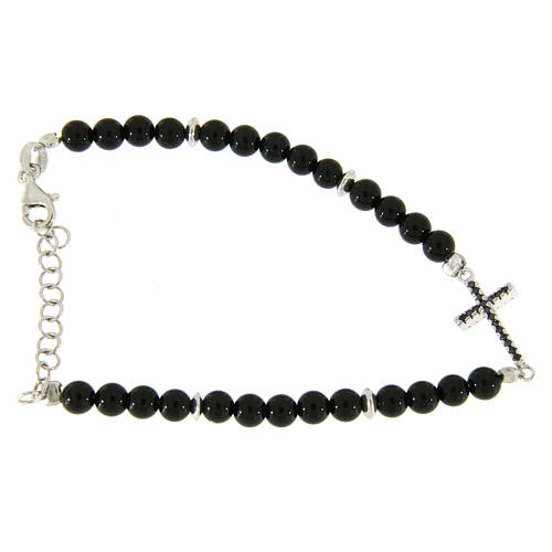 Bracelet détails et croix argent zircons noirs perles onyx noir brillant 4,2 mm 2