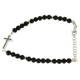 Bracelet with details, cross with black zircons, black shiny onyx balls sized 4,2 mm s1