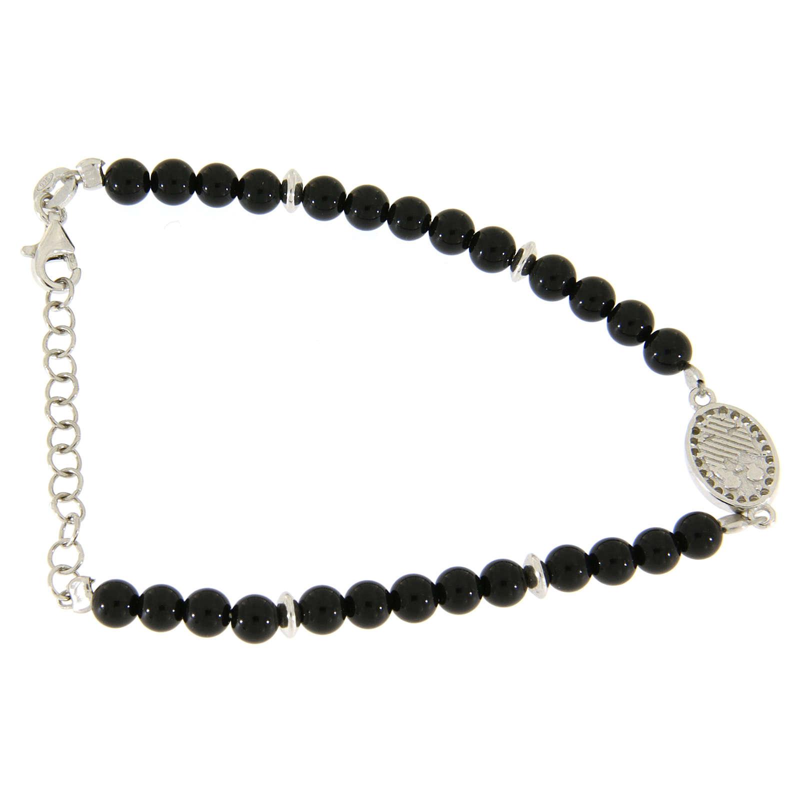 Bracciale perline nere onice, inserto medaglietta S. Rita zirconi bianchi 4