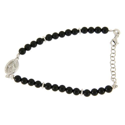 Bracciale perline nere onice, inserto medaglietta S. Rita zirconi bianchi 1