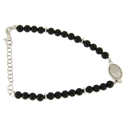 Bracciale perline nere onice, inserto medaglietta S. Rita zirconi bianchi 2