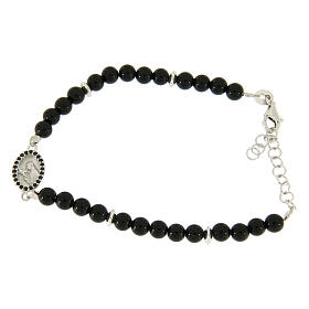 Silver bracelets: Bracelet in 925 sterling silver, with onyx beads and Saint Rita medalet with black zircons
