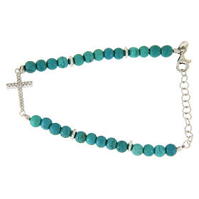 Silver bracelets: Bracelet in turquoise paste with beads sized 4,5 mm, and cross with white zircons