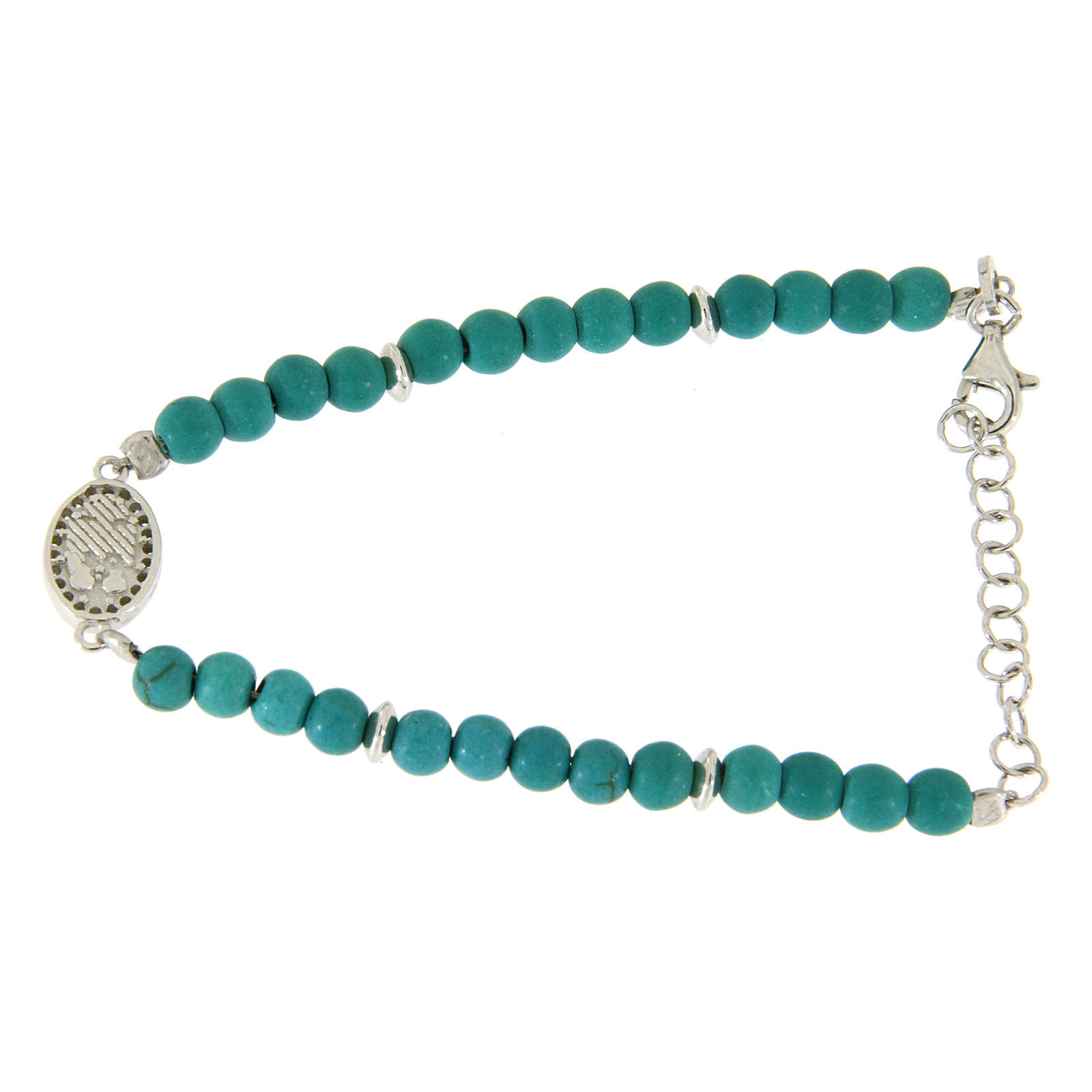 Bracelet with turquoise paste beads, Saint Rita medaley and white zircons, in 925 sterling silver 4