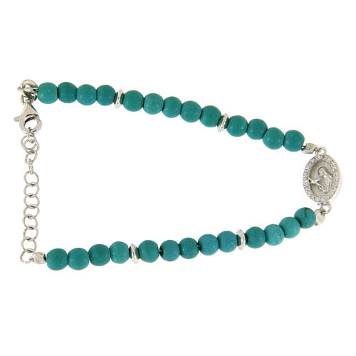 Bracelet with turquoise paste beads, Saint Rita medaley and white zircons, in 925 sterling silver 1