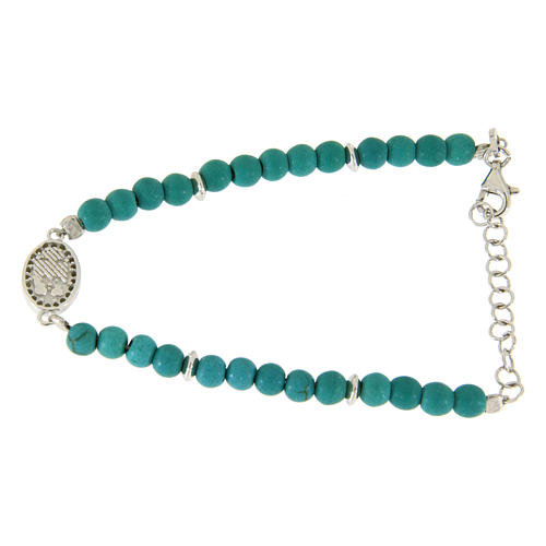 Bracelet with turquoise paste beads, Saint Rita medaley and white zircons, in 925 sterling silver 2