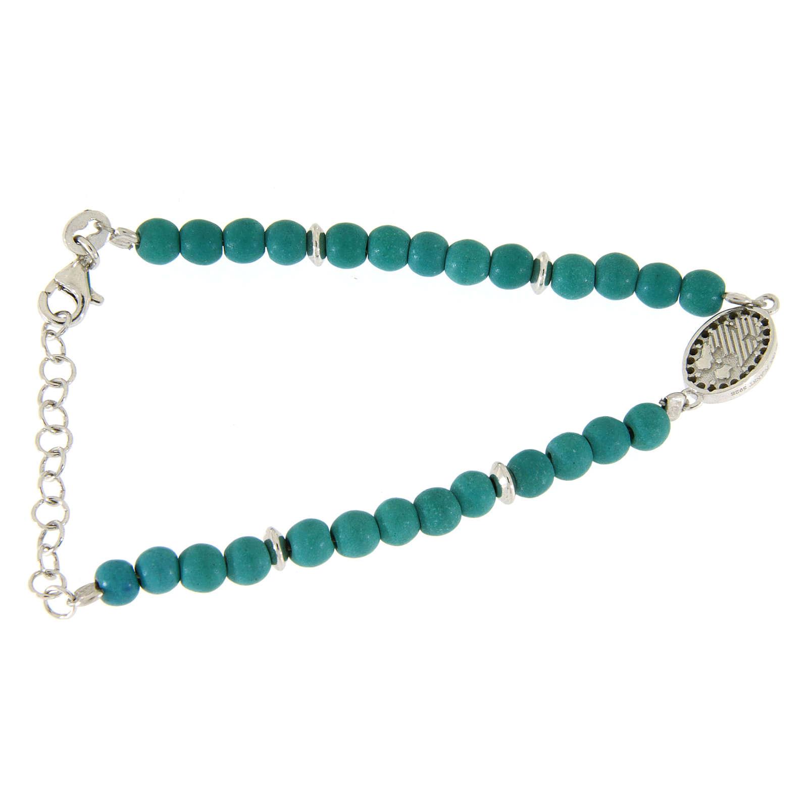Bracciale perline pasta turchese medaglietta S. Rita zirconi neri - argento 925 4