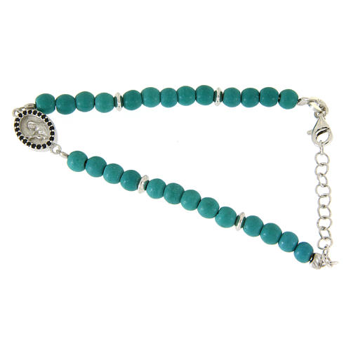 Bracciale perline pasta turchese medaglietta S. Rita zirconi neri - argento 925 1