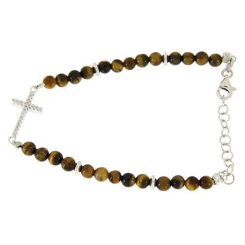 Bracelet perles oeil de tigre argent et croix zircons blancs 1