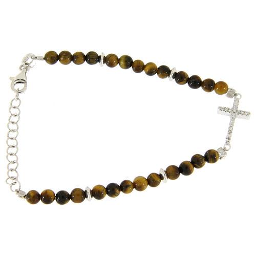 Bracelet perles oeil de tigre argent et croix zircons blancs 2