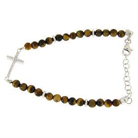 Bracelet with tiger's eye beads, white zirconate cross in 925 sterling silver s1