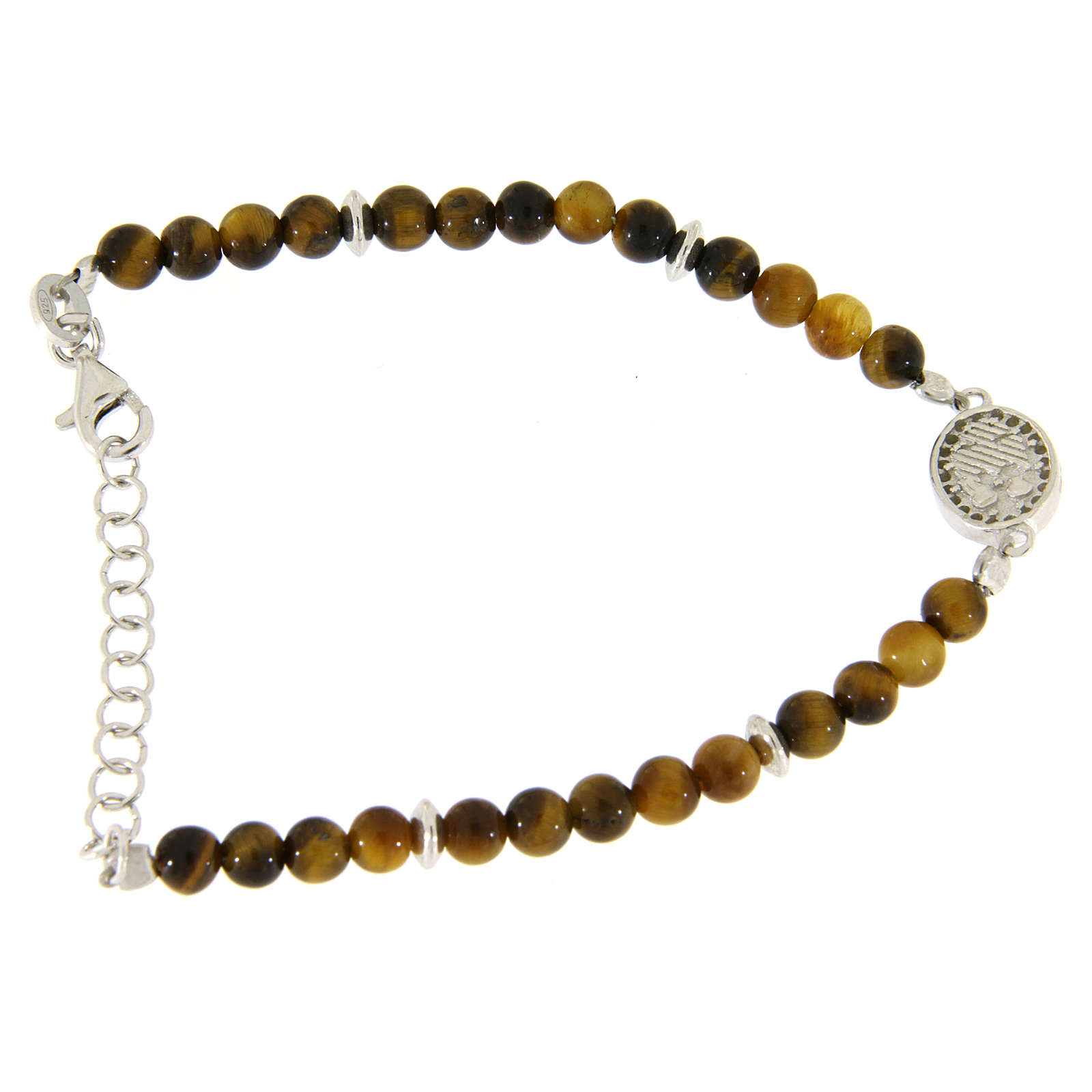 Bracelet with white zirconate medal and tiger's eye beads 4