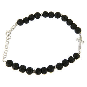 Bracelet with lava stone beads and white zirconate cross s1