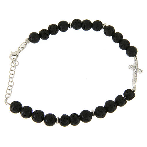 Bracelet with lava stone beads and white zirconate cross 1