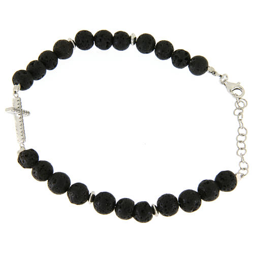Bracelet with lava stone beads and white zirconate cross 2
