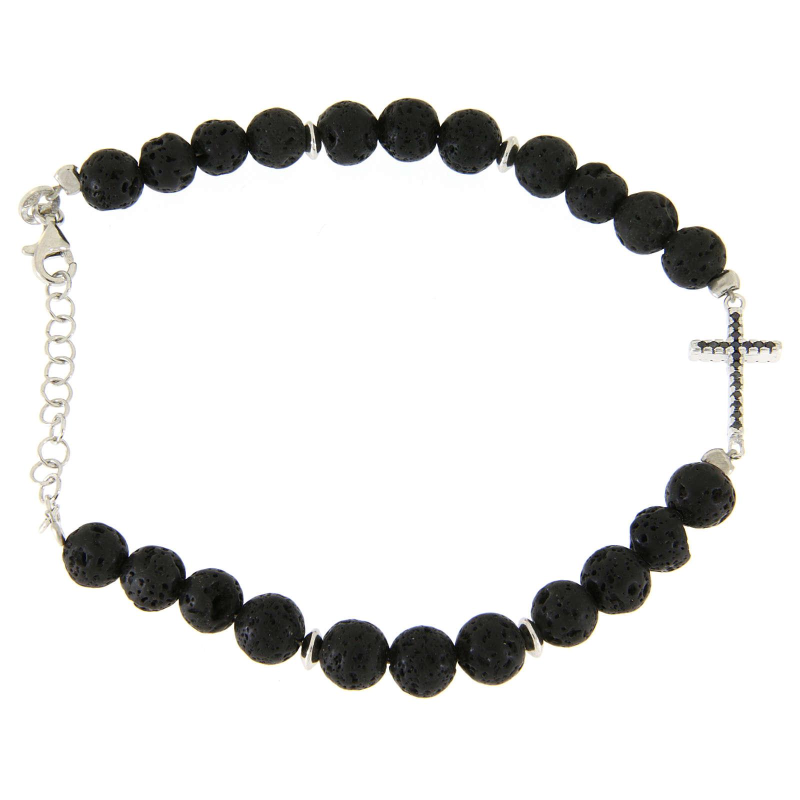 Bracelet with lava stone beads and black zirconate cross 4